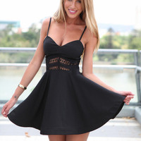 Black Strappy Crochet Waist Skater Dress