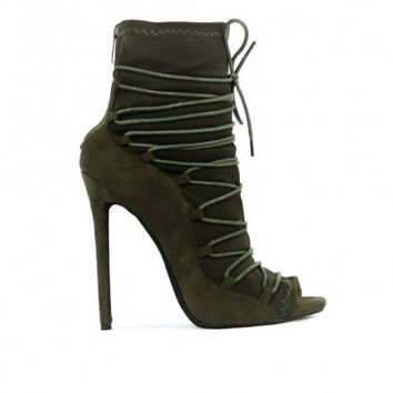 CHRISTINE LACE UP DETAIL STILETTOS IN KHAKI FAUX SUEDE