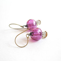 Purple Hollow Glass Earrings - Light Weight Earrings