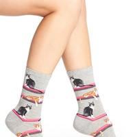 Women's Hot Sox 'Cats' Crew Socks , Size 9/11