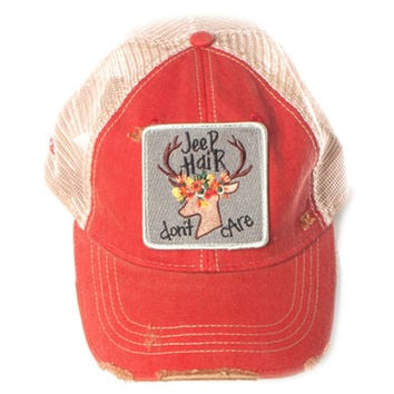 Judith March Jeep Hair Don't Care Hat (Red)