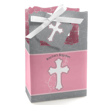 Little Miracle Girl Pink & Gray Cross - Personalized Baptism Favor Boxes