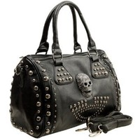 MG Collection Howea Gothic Studded Doctor Shoulder Bag, Black, One Size