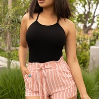 Carly Striped  Shorts Dusty Pink