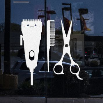 Window Sign and Vinyl Wall Decal Barber Tools Hair Salon Hairdresser Stylist Stickers Unique Gift (ig3571w)