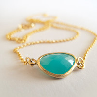 Gold Plated Sea Blue Glass  Necklace  Gold Plated by LaLiLaJewelry