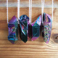 Sterling Silver Titanium Quartz Point Necklace