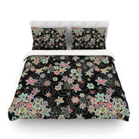 """Julia Grifol """"My Small Flowers"""" Black Floral Featherweight Duvet Cover"""