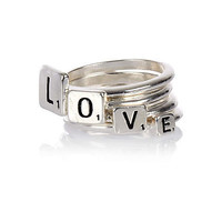 Silver tone love stacked ring pack