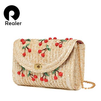 Straw Messenger Bags Woven Day Clutch Flap Bag Beach Package Crossbody Chain Bags