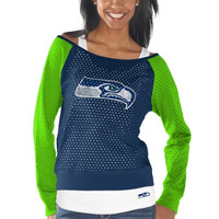 Seattle Seahawks Womens Holy Long Sleeve T-Shirt and Tank Top – Navy Blue/Neon Green