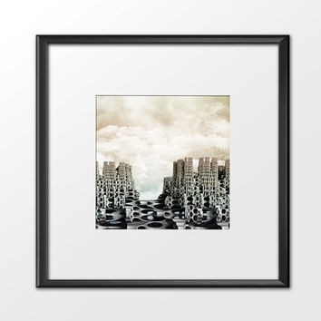 Digital Art, Abstract Monochrome Print,Contemporary Art.Algorithmic,Abstract Wall Decor,Futuristic Art,Science Fiction,Space Modern Art