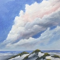 "Original Acrylic on Canvas Panel Seascape Beach Painting ""Cotton Clouds"" 10 X 8"