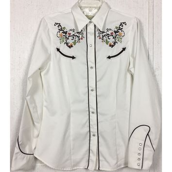 Roper Embroidered Western Pearl Snap Shirt White Floral Arrow Cowgirl Rodeo M