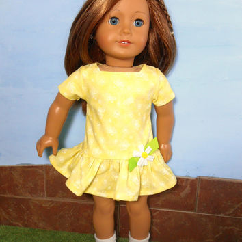 Yellow Doll Dress, Butterfly Doll Dress, Easter Doll Dress, fits 18 inch Dolls such as American Girl Dolls, Summer Doll Clothes