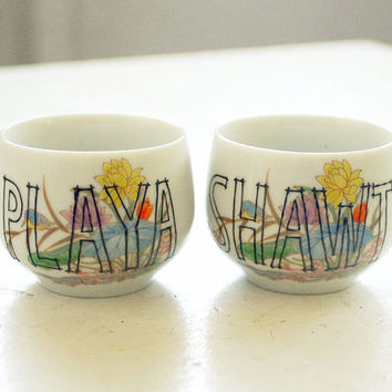 shot glasses - playa loves shawty - set of two (2) floral vintage sake cups - upcycled pair