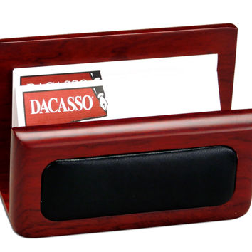 Office Conference Room Desk Tabletop Decorative Rosewood And Leather Business Card Holder