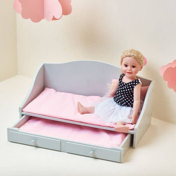 "Olivia's Little World - Polka Dots Princess 18"" Doll Trundle Bed - Grey"