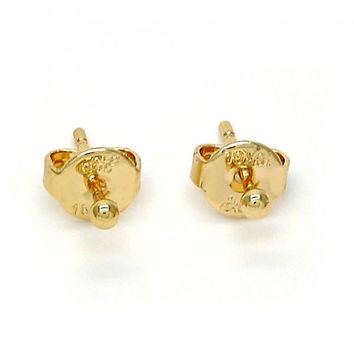 Gold Layered Stud Earring, Ball Design, Gold Tone