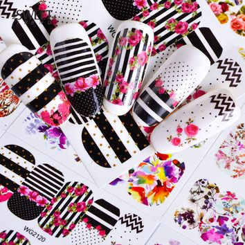 45Sheets Flowers Mixed Nail Decals Nail Art Water Transfer Stickers Full Cover Decals Foil Wraps Beauty Nail Art Tattoos LAWG45