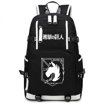 Japanese Anime Bag  Attack on Titan Cosplay Student School Bags Teenager Laptop Backpacks Boy Cartoon Rucksack Children Large Canvas Schoolbag AT_59_4