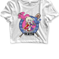 Harley Quinn Im Known For Being Quite Vexing Womens Crop T Shirt