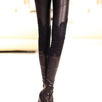 Black Faux Leather Lace Spliced Skinny Pants