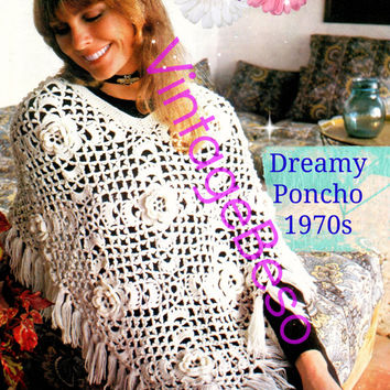 Instant Download Vintage 1970s Dreamy Poncho Crochet Pattern Retro Flowers Printable Pdf Pattern