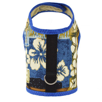 Blue Tiki Print Dog Vest Harness