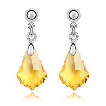 Imported Austrian Crystal Earrings - Baroque leaf export to Europe and America jewelry factory strength    GOLDEN