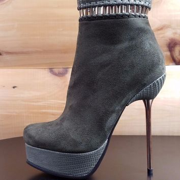 Luichiny Very Nice Army Green Olive / Snake Texture Slim High Heel Ankle Boots