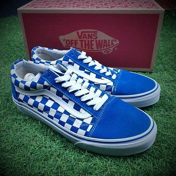 Vans Old Skool Primary Check Blue White Sneakers Training Shoes
