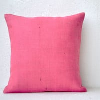 Pink Burlap pillow cover  18X18 inches cushion cover