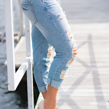 Need You Here Destroyed Light Wash Cropped Boyfriend Jeans