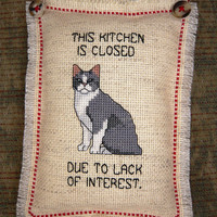 Closed Kitchen Cat Cross Stitched Pillow Door Hanger