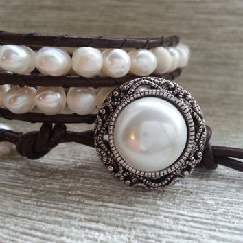 SALE - Leather Wrap Bracelet with freshwater pearls, handmade leather wrap bracelet, friendship bracelets, freshwater pearl bracelet
