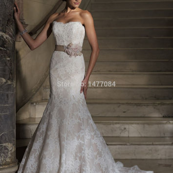 Sexy Sweetheart Lace Mermaid Wedding Dresses 2015 Handmade Flower Sash Open Back Bridal Gowns For Women