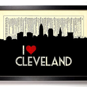 I Love Cleveland, Ohio City Skyline Dictionary Book Print Upcycled Art Upcycled Vintage Print Antique Dictionary Buy 2 Get 1 FREE