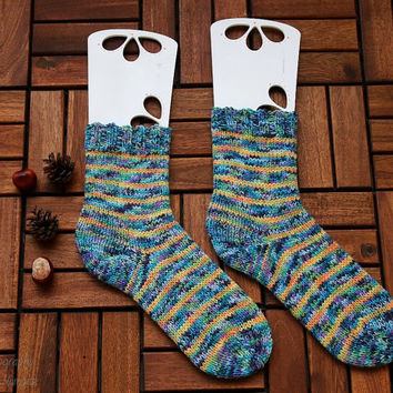 Handknit striped thick socks size EU 41-43, US women 9-12, handknit socks, holiday gift for him or her, wool socks, boot socks