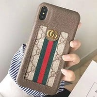 GUCCI Fashion New Stripe More Letter Leather Women Men Protective Cover Phone Case