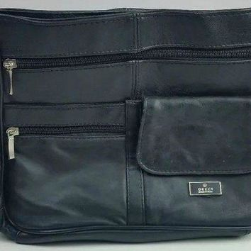 DCCKV2S Vintage Black Gucci Handbag Purse Carry-On Italian Leather Bag