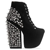 Jeffrey Campbell Freda Spike in Black Suede Silver at Solestruck.com