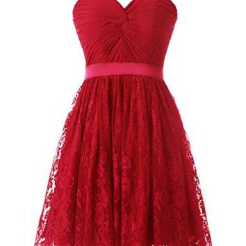 Modest A-line Sweetheart Lace Homecoming Dresses Short Prom Gowns
