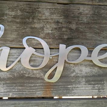 Hope Sign, Metal Farmhouse Sign, Metal Words, Metal Wall Art, Shabby Chic, Metal Art, Metal Letters, Word Art, Word Signs, Word Wall Art