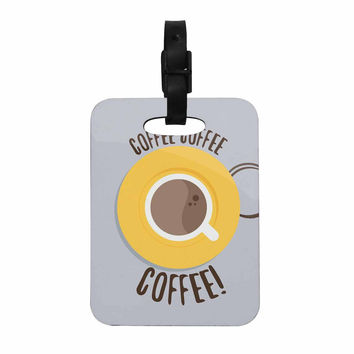 "Jackie Rose ""Coffee!"" Grey Yellow Decorative Luggage Tag"