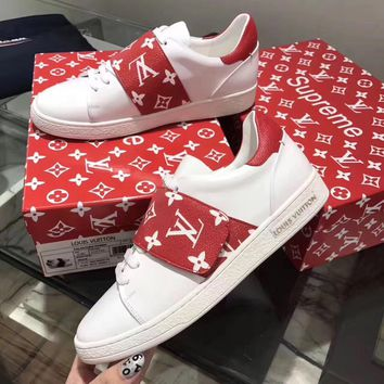 Best Online Sale Hot Supreme x Louis Vuitton LV McQueen Fashion Plate Shoes White Red Brown Casual Shoes