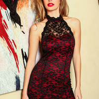 Red High Neck Lace Bodycon Dress