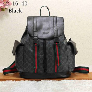 GUCCI 2018 new classic GG pattern large men's backpack F-KSPJ-BBDL black