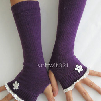 Lace Arm Warmers-Purple Gloves -Fingerless-Purple Long Gloves .