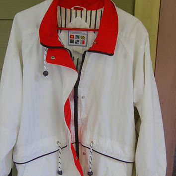 Vintage 80s White Nautical Sailing Jacket Windbreaker Size L